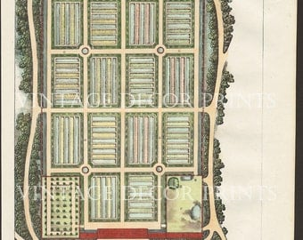 Garden Design 1828 Hand Coloured French Ornamental Garden