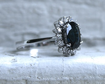 RESERVED - Lovely Vintage 18K White Gold Diamond and Natural Sapphire Halo Ring - 2.30ct.