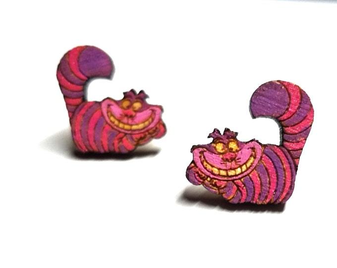 Chesire Cat Painted Wood Earrings   Laser Cut Jewelry   Hypoallergenic Studs   Wood Earrings