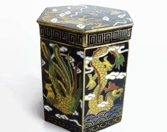 Chinese Cloisonne Box Vintage Black Trinket Box, Drum Shaped Barrel Jar, Dragon Phoenix