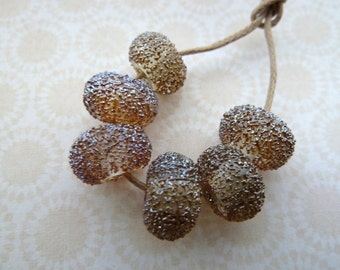 handmade lampwork gold and silver frit glass beads, UK set