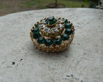 Emerald Green Brooch - Vintage Emerald Broach - Rhinestone Brooch - Vintage Costume Broach - Vintage Coro Brooch