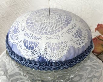 Handmade Pin Cushion on Vintage Candle Holder. Large Pin Cushion of Cotton Lace Design Braid Trimmed.