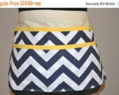 ON SALE Chevron utility Apron, Women's Vendor Apron, Navy Chevron Apron, Teacher apron, carpenter apron, Navy and yellow chevron apron