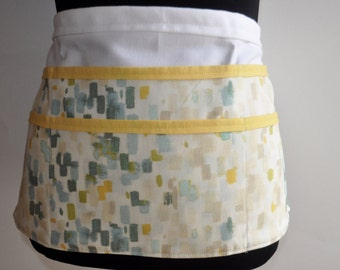 Watercolor apron, Teacher apron, Watercolor utility apron, Women's vendor apron, Watercolor print apron, art teacher apron, yellow apron