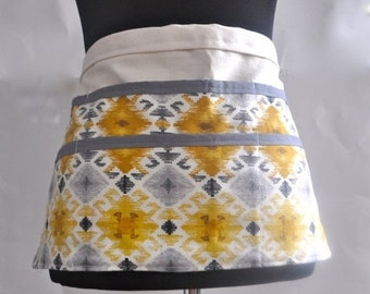 ON SALE Utility Apron, Womens Vendor Aprons, Teacher Apron, Carpenter Apron, yellow and gray apron, craft fair apron, gardening apron, Mayan