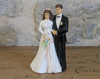 Wedding cake topper - vintage French bride and groom cake decor
