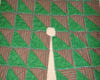 Square Rag Quilt Tree Skirt Digital Pattern by Sew Practical, Mom and Pop Craft