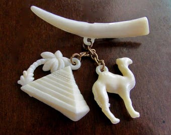 Pyramid and Camel Charms Vintage Pin Brooch Early Hard Plastic
