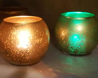 4 per // Round Gold Mercury Glass Vase  or Votive Candle Holder for Parties and Events Flower // Mercury Antique Style / 4 p/order