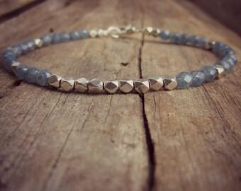 Blue Steel Friendship Bracelet • Czech Glass Bracelet • Bridesmaid Bracelet • Minimal Bracelet • Beaded Bracelet • Wedding