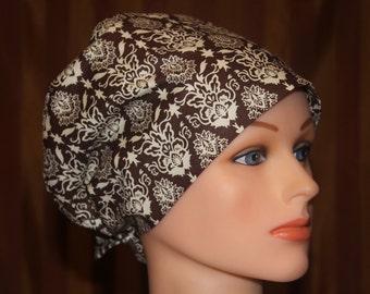 Tie Back Scrub Hat/Chemo Hat/Womens scrub hat/Surgical Scrub Hat--Blake