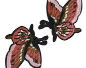 Embroidered Butterflies Patches Appliques, Insects Badges, Iron on Butterfly Patch 2 pcs