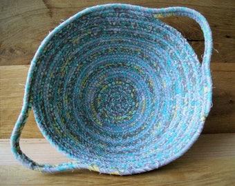 Handmade Coil basket,  oval clothesline basket storage basket, egg basket, coiled fabric basket, handle basket  blue yellow gray rope basket