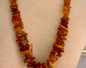 Genuine Baltic Amber Natural Chunky Graduated Cognac/Butterscotch Nuggets, 28 Inch Necklace