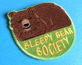 Bear Iron On Patch, Sleepy Bear Society Patch, Cute Bear Patch, Animal Iron On Patch, Embroidered Patch