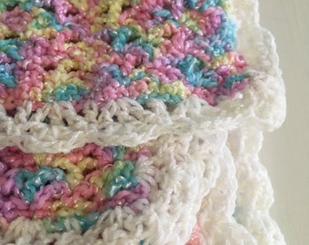 Baby Blanket Hand Made Crochet Multi Color Sparkle Yarn Stripes Very Soft Pink Yellow White Purple Baby Infant Toddler Blanket Shell pattern