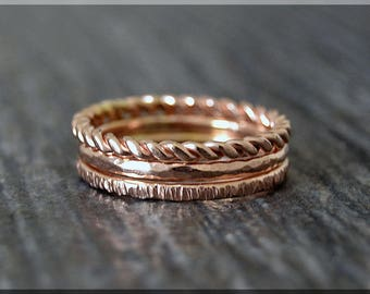 Set of 3 14k Rose Gold Filled Rings, Bark Texture Ring, Stacking Ring, Twisted Ring, Hammered Ring, Rose Gold ring stack, Layering rings