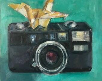 Watch the birdie, original oil painting 6X6