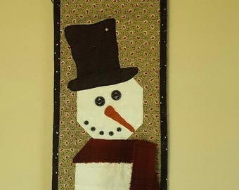 QUILTED HOLIDAY SNOWMAN Tall Narrow Snowman Skinny Snowman Christmas decor wall hanging table runner