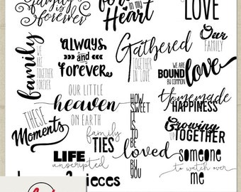Digital and Printable Overlay Word Art Set - Instant Download - Our Family - Photography
