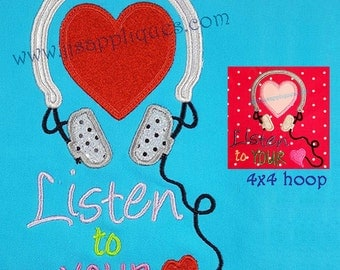 Listen to Your Heart Applique 4x4, 5x7, 6x10 hoops Valentine's Day Embroidery Applique Design - Instant Download