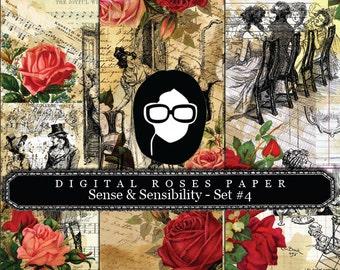 Jane Austen Print - Sense & Sensibility - Set #4 - 3 Pg Instant Downloads - digital rose paper, pride and prejudice, jane austen quote