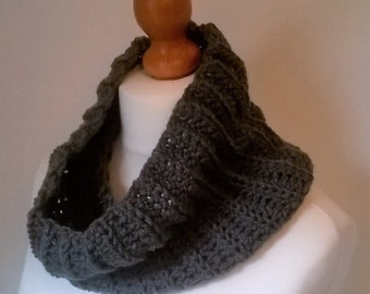 Crochet Textured Infinity Scarf Ready to Ship