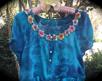 Boho Blue Bayou Blossom Tunic/Short Dress  Rustic Romance Unique  Sweet Music Festival Charmer