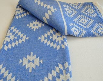 Turkish Towel Rug pattern Peshtemal towel Cotton Peshtemal towel in blue color soft
