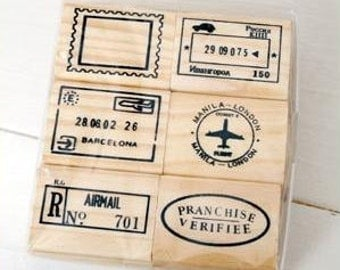 6 pcs Travel Stamp Wooden Rubber Stamps Diary Stamps