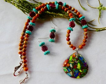 20 Inch Multi Colored Sea Sediment or Imperial Jasper Pendant Necklace with Earrings