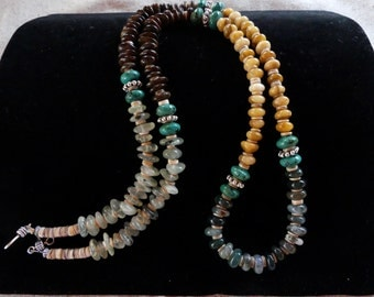 31 Inch Four Color Southwestern Freeform Gemstone, Turquoise and Shell Heishi Necklace with Earrings