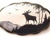 Danish Silver, Guilloche Enamel Brooch, Moose, Elk, Sterling Silver, Denmark 925S ElVik Signed, SPRING SALE
