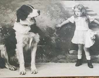 Antique German Postcard, Young Girl Afraid of a Dog, Paper NEW YEAR SALE