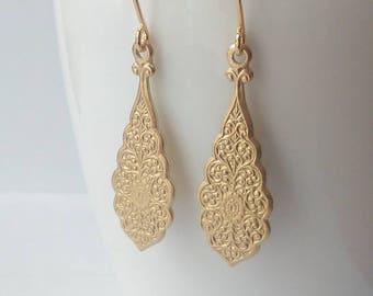 Gold dangle earrings - Boho earrings - Dangle earrings - Boho hippie gypsy - Everyday jewelry - Gold earrings