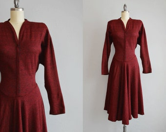 Vintage 1980s Dress / 80s Necessary Objects Red Heather Jersey Sweatshirt Knit Snap Dress with Midi Circle Skirt