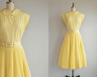 Vintage 50s Dress / 1950s Pat Premo Yellow Cotton Crystal Pleat Circle Skirt Dress with Peter Pan Collar and Belt