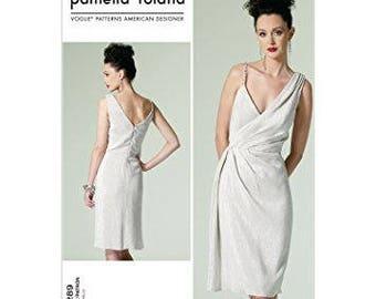 Vogue Pattern V1289 Pamella Roland Mock Wrap Dress C5 10-12-14-16-18 Uncut