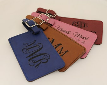Luggage, Tag, Leatherette, Personalized, Engraved, Travel, Suitcase, ID, Monogram, Vegan, Gifts for Him, Gifts for Her, Identification