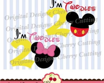 I'm Twodles SVG DXF,Mouse ears SVG dxf, I'm Twodles with Mickey and Minnie,Silhouette & Cricut Cut Files BSCH05-Personal and Commercial Use