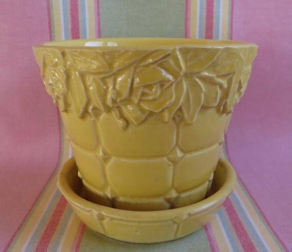 Yellow McCoy Flower Pot Vintage McCoy Planter Yellow Rose