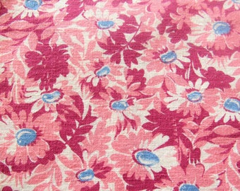 vintage FULL feed sack fabric -- pink daisies floral print