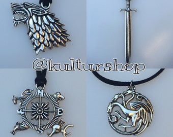Game of Thrones Necklace in black faux suede with a Silver colored pendant