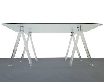 Mid Century Lucite and Chrome Saw Horse Desk Table with Boat Shaped Glass