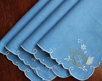 Vintage Linen Napkins Cocktail Hand Embroidery Applique Blue Flowers Madeira Set 4