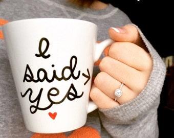 Personalized mug, custom mug, Engagement Gift Mug, Hand painted mug, customized mug, I said Yes mug