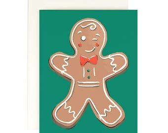 Winking Gingerbread - Holiday Card