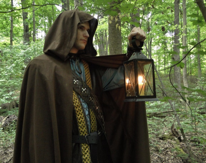 Renaissance Cape, Medieval Cloak, Hood, Viking, Ranger - Dark Brown