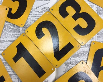 Yellow aluminum School bus number plates - 1 through 9 available - reflective number